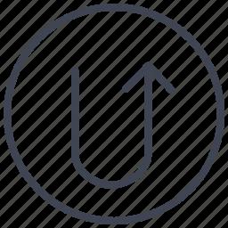 arrow, arrows, direction, turn, u, up icon