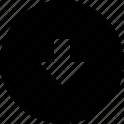 arrow, bottom, circle icon
