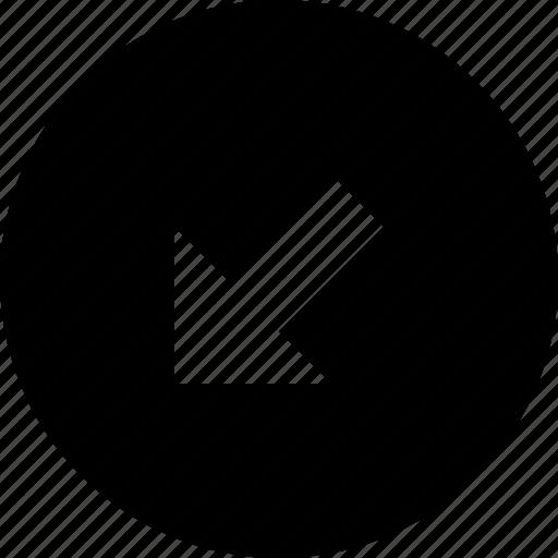 arrow, bottom, circle, left icon