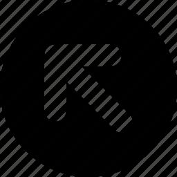 arrow, circle, left, top icon