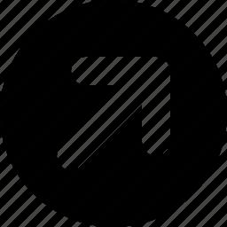 arrow, circle, right, top icon
