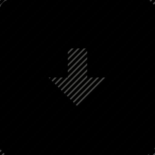 arrow, bottom, square icon