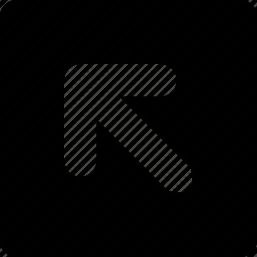 arrow, left, square, top icon
