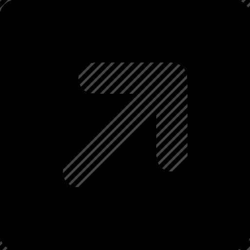 arrow, right, square, top icon