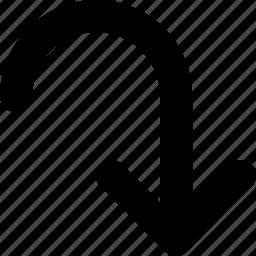 arrow, bottom, curved icon