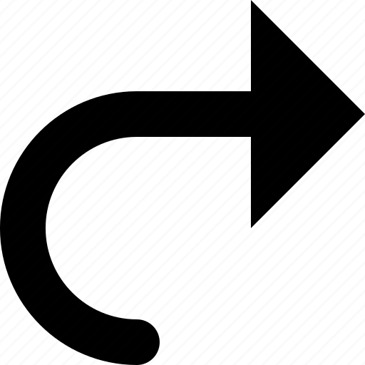 arrow, curved, right icon