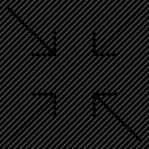 arrow, collapse, location, minimize, point, ui icon