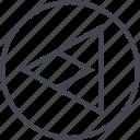 arrow, design, left, point, triangle, ui, ux icon