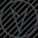 arrow, down, gos, navigation, point, ui, ux icon