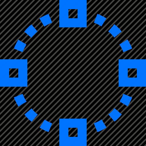 art, circle, design, four, shape, square icon