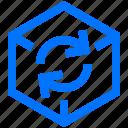 art, cube, design, dimension, refresh, rotate, three icon