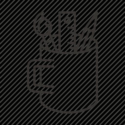 design, mug, organizer, pen, pencil, tools icon