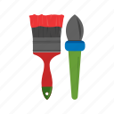 brush, color, decorating, home, paint, red, yellow