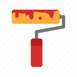 color, decorating, home, paint, red, roller, yellow icon