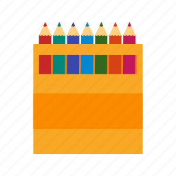 box, color, paintbox, pencil, red, school, white icon