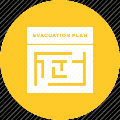 building, danger, emergency, evacuation, exit, plan, warning icon