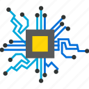 integrated circuit, intelligence, isometric, microprocessor icon
