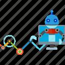 intelligence, isometric, mechanical, robots icon
