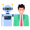 happy robot, robot friend, bot, human and robot, personal robot