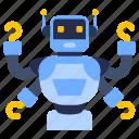 futuristic robot, multi tasking robot, robot hands, multifunctional robot, bot