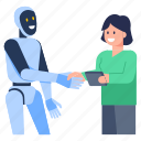 robot handshake, robotic partnership, robot meeting, robotic communication, robot