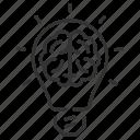 brain, bulb, idea, lamp icon