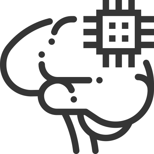 artificial, brain, computer, connections, face, intelligence, processor icon