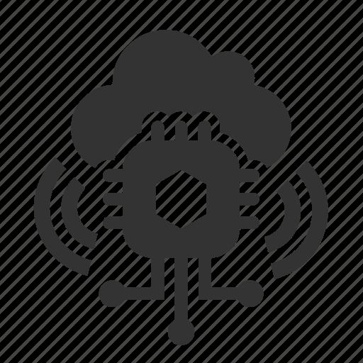 circuit, cloud, computing, tecnology icon