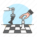 ai, intelligence, chess, game, logic, robot, artificial, machine, analysis, arm, learning, tactical icon