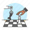 ai, intelligence, chess, game, logic, 3, robot, artificial, machine, analysis, arm, learning, tactical icon