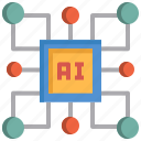 artificial intelligence, control, core, intelligence, program, system, technology icon