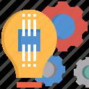 bulb, creative, gear, idea, light, project, setting