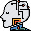 artificial intelligence, computer, cyborg, future, robot, system, technology icon