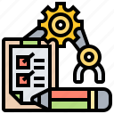 checklist, evaluating, machine, monitoring, performance icon