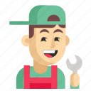 asia, avatar, job, man, mechanic, profession, work icon