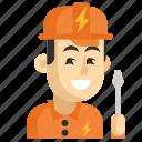 asia, avatar, electrician, job, man, profession, work icon