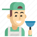 asia, avatar, job, man, plumber, profession, work icon