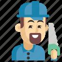 asia, avatar, carpenter, job, man, profession, work icon