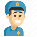 asia, avatar, job, man, policeman, profession, work icon