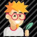 asia, avatar, job, man, profession, work, writer icon