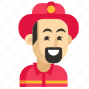 asia, avatar, firefighter, job, man, profession, work icon