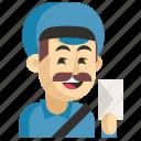 asia, avatar, job, man, postman, profession, work icon