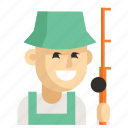 asia, avatar, fisherman, job, man, profession, work icon