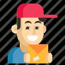 asia, avatar, courier, job, man, profession, work icon