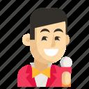 asia, avatar, job, man, profession, showman, work icon