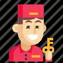 asia, avatar, concierge, job, man, profession, work icon