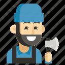 avatar, job, lumberjack, man, profession, user, work icon