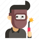 asia, avatar, job, man, profession, welder, work icon