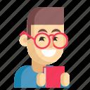 asia, avatar, job, librarian, man, profession, work icon