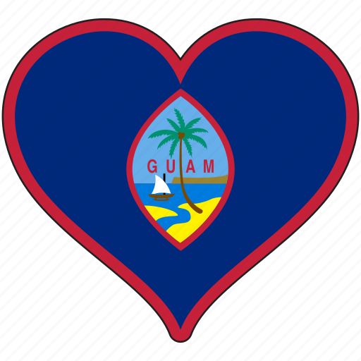 flag, flags, guam, heart icon